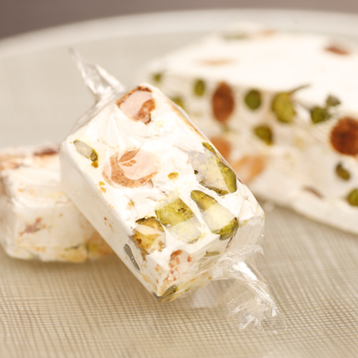 Nougat Candy with Almonds and Pistachios